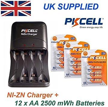 PKCELL Ni-Zn 12 x 1.6v 2500mwh Baterías AA Más Ni-Zn AA Y AAA alto rendimiento KIT CARGADOR 2PIN