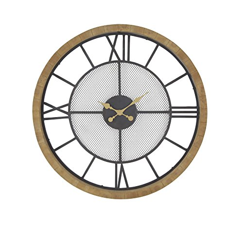 Deco 79 89262 Wall Clock, Black/Brown/Gold/White (Clock White White Gold)