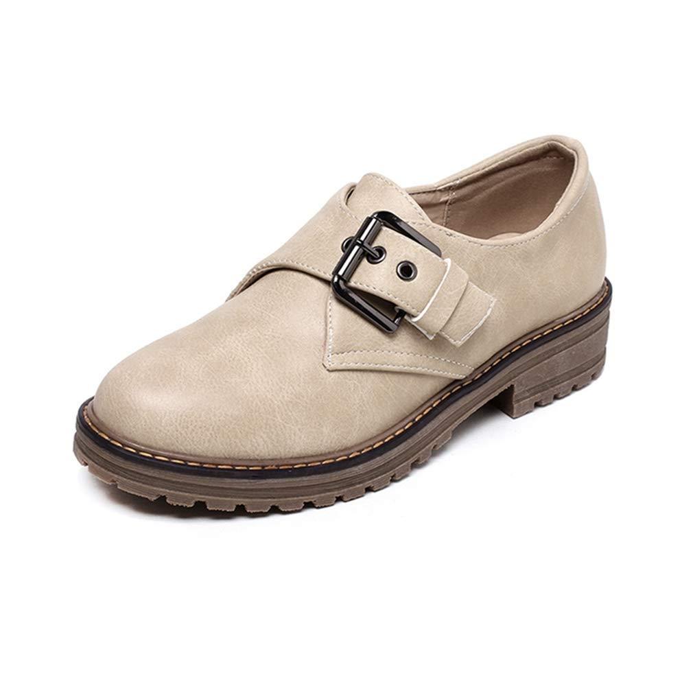 Beige Elsa Wilcox Women Round Toe Buckle Low Heel Retro Comfortable Dress Oxfords shoes Vintage Slip On Oxford shoes
