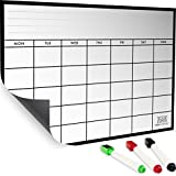 Monthly Magnetic Calendar : A Refrigerator Whiteboard Planner With 3 Markers - Kitchen Fridge Organizer, A Schedule Board Reminder For Monthly Appointments – Stainless Dry Erase Meal Planner