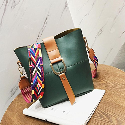Bag Wide Bucket Shoulder Hunpta Strap Green Women Handbag Fashion Leather qtw8xfx7F