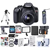 Canon EOS Rebel T6 Digital SLR Camera Bundle with EF-S 18-55mm f/3.5-5.6 IS II Lens + LED Video Light + Condenser Microphone + Shoulder Bag + Tripod + SD Cards + UV Filters + Photography Accessories