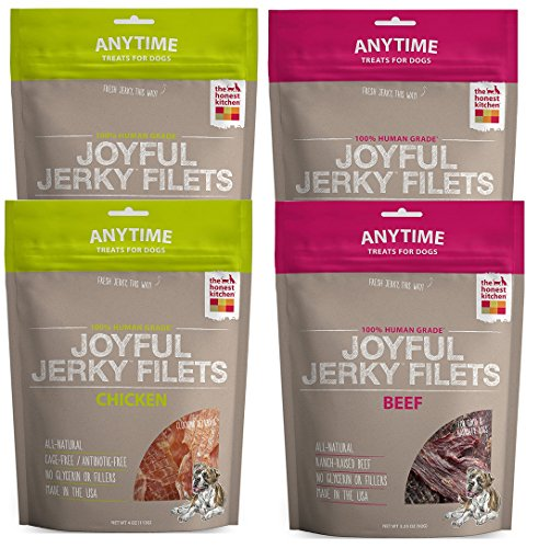The Honest Kitchen Joyful Jerky: Natural Human Grade Dehydrated Jerky Dog Treats, Filets Variety