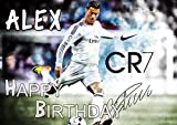 Cristiano Ronaldo CR7 Real Madrid Birthday Cake Personalized Cake Toppers Edible Frosting Photo Icing Sugar Paper A4 Sheet 1/4