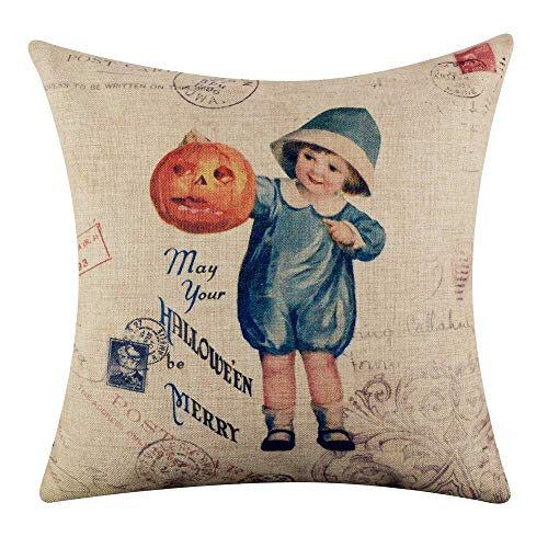Touch Colourful 20x20 Inches Vintage Merry Halloween Child with Pumpkin Burlap Throw Cushion Cover Pillowcase for Sofa Halloween Thanksgiving Christmas Home Decoration Gifts