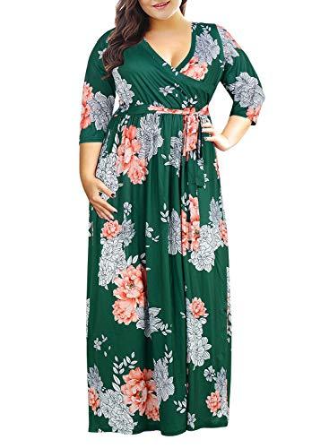 Nemidor Women's 3/4 Sleeve Floral Print Plus Size Casual Party Maxi Dress (GreenPrint,