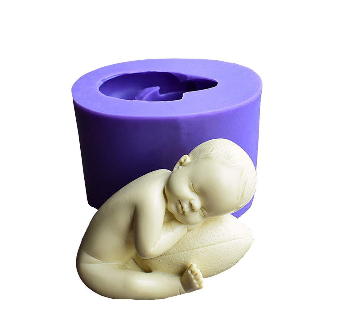 1# Runloo Football Baby Soap Mold,3D Newborn for Handmade Soap Fondant Silicone Mold Cake Decoration Mold Candle Mold