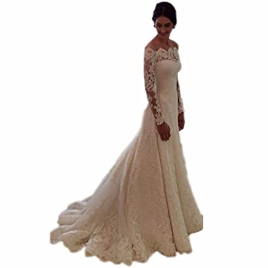 Arrowder Vintage Long Sleeves Beteau Lace Mermaid Wedding Dresses 2016 US Size 2 Ivory