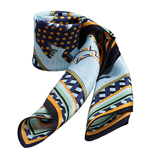 100% Silk Scarf Neckerchief Small Square Print Scarves Women (Colorful Horses Light Blue Navy)