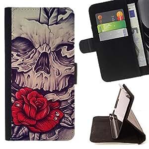 BullDog Case - FOR/Sony Xperia Z1 Compact D5503 / - / ROSE VINTAGE VIGNETTE ROSE INK BLUE /- Monedero de cuero de la PU Llevar cubierta de la caja con el ID Credit Card Slots Flip funda de cuer