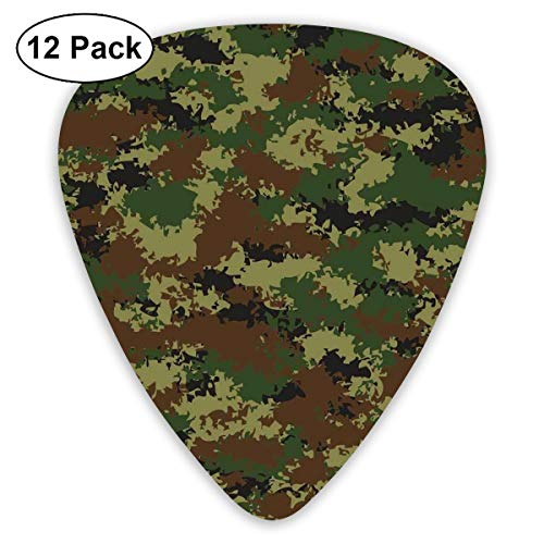 Guitar Picks 12-Pack,Grunge Graphic Camouflage Summer Theme Armed Forces Uniform Inspired - Armed Uniforms Forces