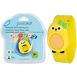 All Natural Mosquito Repellent Cartoon Bracelet For Kids, Best Organic Bug Insect Repellents For Infant Baby and Toddler, No Deet, Waterproof, No Spray, Pet Safe Include 2 Refills-Yellow Bird