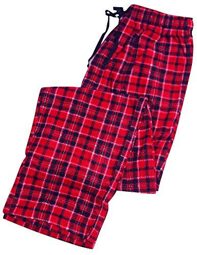 Varsity - Mens Plaid Fleece Lounge Pant, Red 33202-XX-Large (Lounge Pants Plaid Fleece)