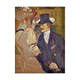 This ready to hang, gallery-wrapped art piece features a man in a blue suit and hat in the center of the frame. Henri Toulouse Lautrec was a French painter, printmaker, draughtsman and illustrator whose immersion in the colorful and theatrical life o...
