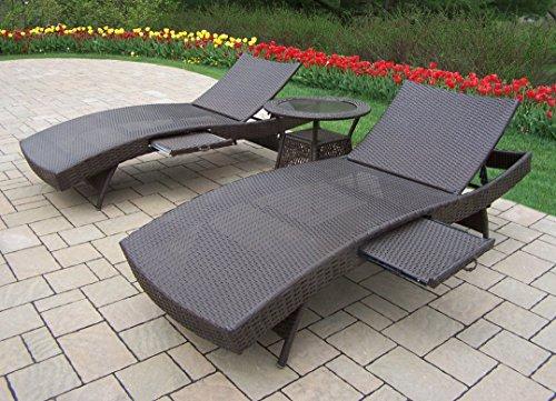 Oakland Living Elite Resin Wicker 3-Piece Chaise Lounge Set