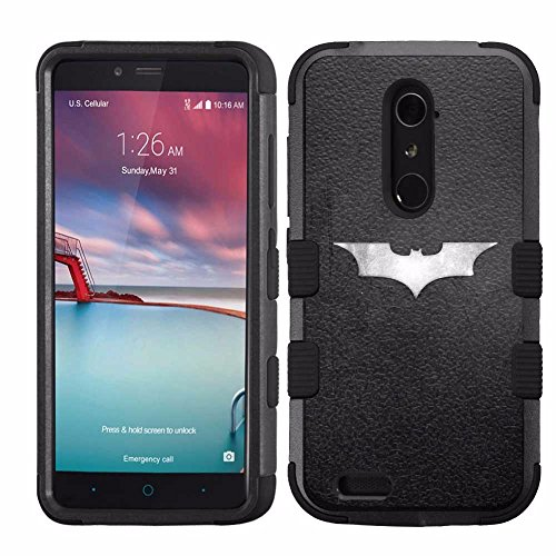 for ZTE Grand X Max 2/Imperial Max/Zmax Pro/Kirk (Z988), Hard+Rubber Dual Layer Hybrid Heavy-Duty Rugged Armor Cover Case - Batman #S at Gotham City Store