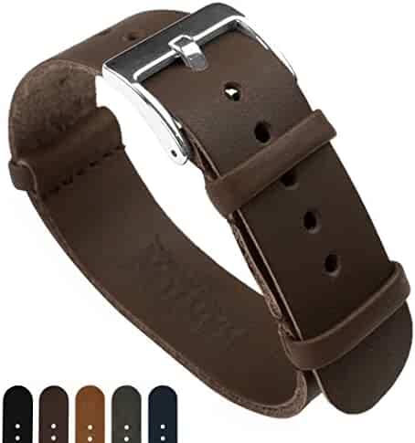 BARTON Leather NATO Style Watch Straps - Choose Color, Length & Width - Saddle Brown 22mm Standard Band