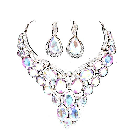 Rhinestone Necklace Set Ab - Women Bridal Rhinestone Crystal Statement Necklace Earring Wedding Dress Jewelry Sets (AB)