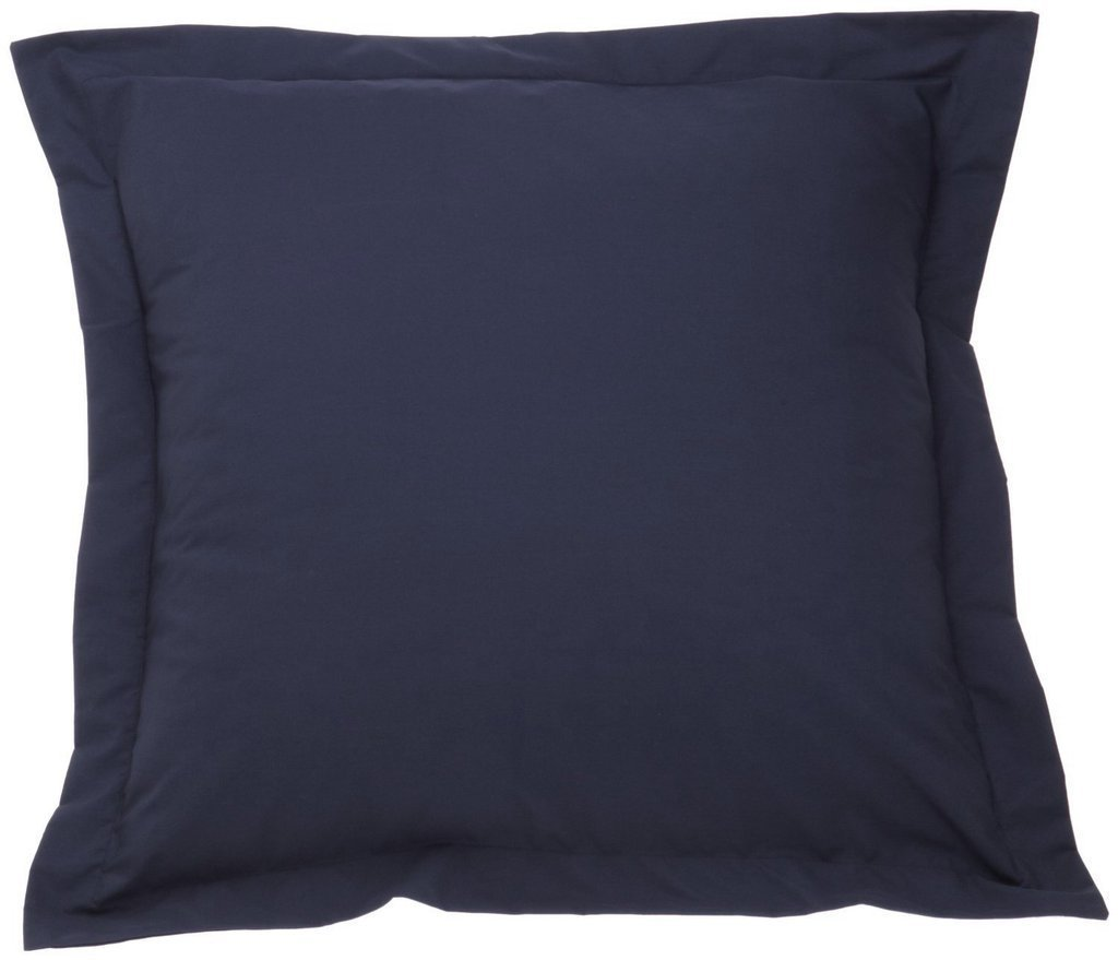 400 Thread Count Single-Ply Soft Egyptian Cotton Solid/Plain European Square Tailored pillow shams Cushion Cover 26 x 26 Inch, {Available in 21 Color } (Navy Blue Solid)