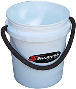 Shurhold 2451 White 5 Gallon Bucket with Black Rope Handle