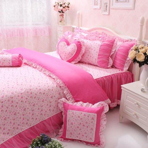 FADFAY Home Textile,Girls Fairy Bedding Sets,Cute Princcess Lace Ruffle Bedding Set,Rustic Pink Rose Print Bedding Set,6/7Pcs