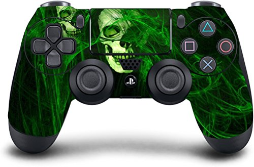 (Green Skull) PS4 Modded Wireless Controller Exclusive Custom Design w/Extreme Features: Rapid Fire, Auto Burst, Jump Shot, Auto Spot and more (Best Modded Controller Site)