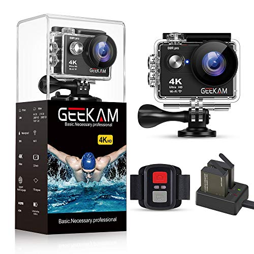 GeeKam Action Camera 4K 30fps WiFi Ultra HD 16MP Waterproof Camcorder 30M Underwater 170°Wide Angle Sports Cam with Remote Control Two Batteries and Mounting Kit (S9Rpro Black)