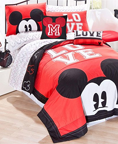 Disney MICKEY MOUSE LUV RED & BLACK REVERSIBLE QUILT SET 100% COTTON Comes with PILLOW SHAM and SHEET SET(60% Cotton 40% Polyester) + 1 TOSS PILLOW (TWIN SIZE) by Jay Franco