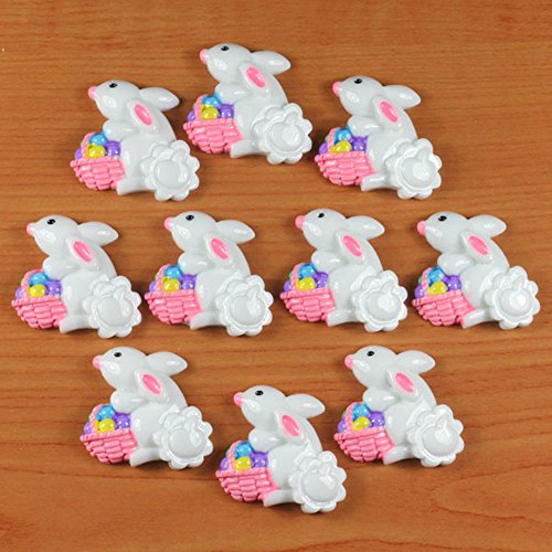 Lot 10pcs Easter Bunny Rabbit with Basket Egg Resin Flatbacks Crafts DIY (Easter Bunny Crafts)
