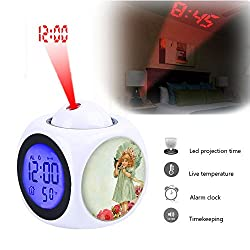 Projection Alarm Clock Wake Up Bedroom with Data and Temperature Display Talking Function, LED Wall/Ceiling Projection,Customize the pattern-347.Vintage, Little Girl, Kitten, Pet
