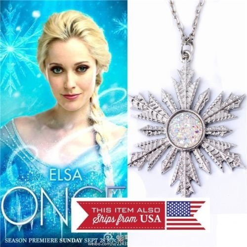 - Frozen Snowflake Pendant Charm Necklace Anna Elsa Once Upon a Time
