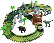 Lydaz Race Track Dinosaur World Bridge Create A Road 142 Piece Toy Car & Flexible Track Playset Toy Cars,
