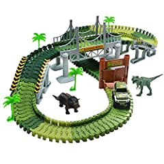 Product features: 1.Dinosaur world car track set, there are 142 track pieces, very easy to assemble for boys kids toddlers. 2.Most kids like truck and car toys, This car track set is helpful to develop children's body coordination and practic...