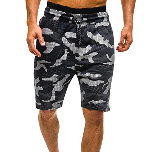 RAISINGTOP Men Summer Casual Comouflage Sweatpants Cargo Shorts Drawstring Capri Camo Pants Casual Elastic Waist New (Black, (Capri Cargo Sweatpants)