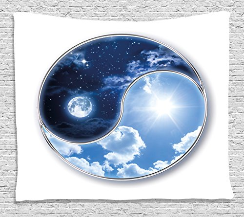 Ambesonne Space Tapestry, Yin Yang World with Moon and Sun Harmony of The Universe Art Print, Wall Hanging for Bedroom Living Room Dorm, 80 W X 60 L Inches, Indigo Sky