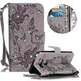 Leather Case for LG K7 Butterfly Flower Pattern Girls Women Cover, MOIKY Luxury Glitter Sparkle Shiny Bling Rhinestone Magnetic Closure Wallet Pockets Credit Card Holder Flip Stand Cover Case For LG K7 - Gray