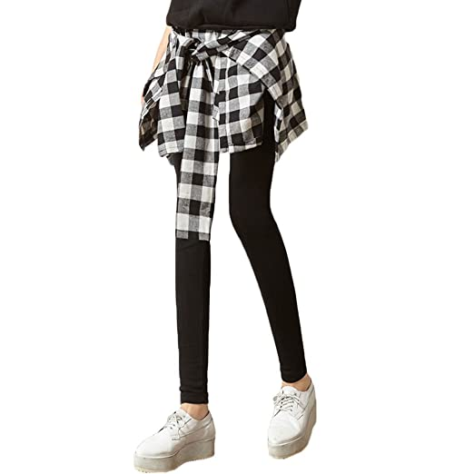 0987422070044a Asher Women Inset Tied Over Plaid Checkered Shirt Around Waist Skirt  Leggings (One Size,