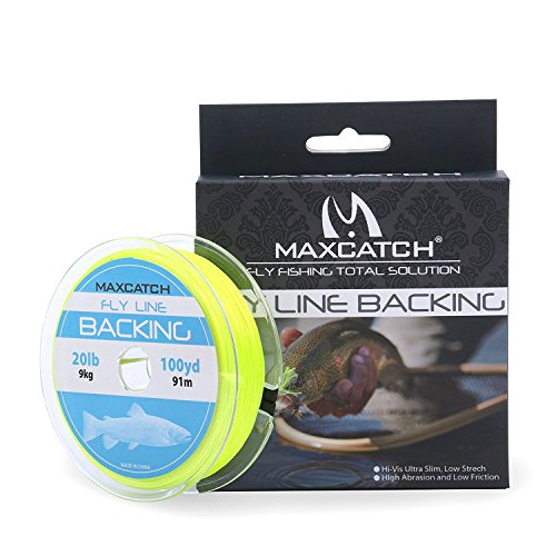 Maxcatch Braided Fly Line Backing for Fly Fishing 20/30lb(White, Yellow, Orange, Black&White, Black&Yellow) (Yellow, 20lb,300yards) (Fly Line Yellow Backing)