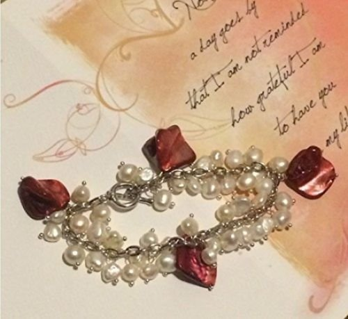 Smiling Wisdom - Freshwater Cultured Pearl (6-7mm) Bracelet with Polished Red Shells- Grateful for You Greeting Card - Beautiful Mother's Day or Valentine's Day Gift Set - Limited - Bracelet 7.5 Toggle