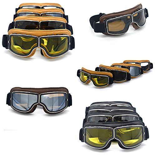 Evomosa Leather Motocross Motorcycle ATV Off-Road Eyewear Snowboard Ski Bikes Helmet Goggles Glasses Sunglasses Sports Vintage Aviator Pilot Style Motorcycle Cruiser Scooter Goggle from Evomosa