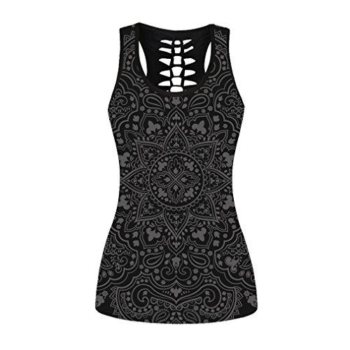 sissycos Women's Skull Print Hollow Out T-Shirt Crew Neck Sleeveless Plus Size Tank Top (Paisley, X-Large)