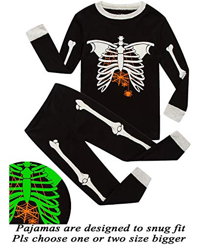 Boys Pajamas Skeleton Glow in The Dark Halloween Girls Pajamas Toddler Pjs Kids Sleepwear -