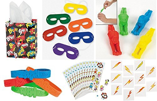 SUPERHERO Party Favors Bundle Kit Pack Enough for 12 Boy's or Girl's Kid's Gift Bags, Stickers, Bracelets, Masks, Tattoos, 144 pc Toy Assortment -
