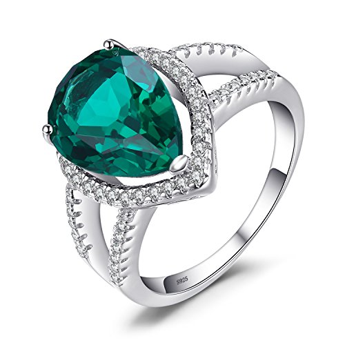 JewelryPalace 3.7ct Nano Russian Simulated Emerald Rings 925 Sterling Silver
