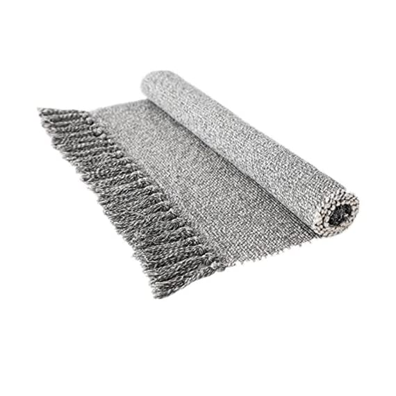 """Ustide Hand Woven Rug Braided Rug Gray White Cotton Reversible Rug with Tassels Floor Runner for Laundry Room/Kitchen/Bathroom/Bedside 23.6""""x70"""" - Each rug is hand made and hand woven to add style and durability Cotton material, more soft and environmental friendly; Tassel design, bring you a unique feeling. Recycled fabric with various colors makes for a great accent in any home décor; Thickness: 0.7cm - runner-rugs, entryway-furniture-decor, entryway-laundry-room - 51Kodn%2BDClL. SS570  -"""