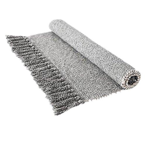 (USTIDE Hand Woven Rug Braided Rug Gray White Cotton Reversible Rug with Tassels Floor Runner for Laundry Room/Kitchen/Bathroom/Bedside 23.6