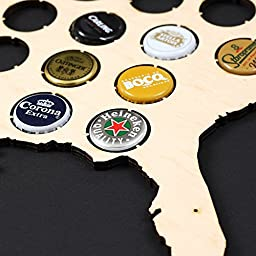 USA Beer Cap Map – Beer cap holder for 70 Bottle caps made from quality birch plywood with pre-drilled holes to mount on the wall – Cool Present for Beer Lovers