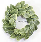 "Silvercloud Trading Co. [New] All Leaf Magnolia Wreath - 20"" - Adjustable Stems - Willow Backing - Timeless Farmhouse Decor - Wedding Centerpiece"