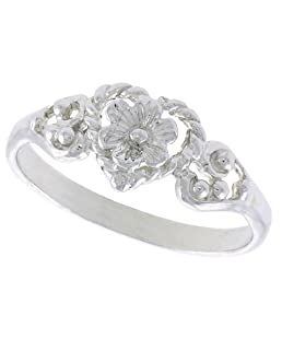 Sterling Silver Floral Heart Ring Polished Finish 5/16 inch Wide, Size 8