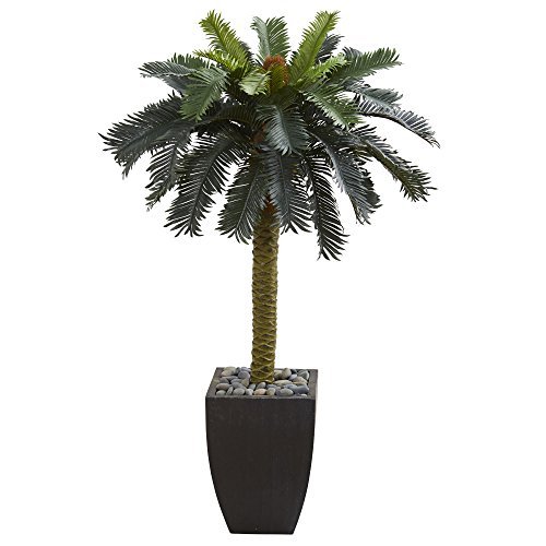 Nearly Natural 5674 4.5' Sago Palm Tree in Black Planter Artificial Plant, Green
